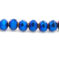 Facet kraal donut nachtblauw AB 2x3mm (streng)