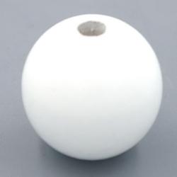 Houten kraal rond wit 30mm (3 st.)