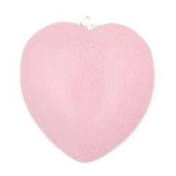 Houten hanger hart roze 40mm (3 st.)