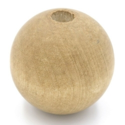 Houten kraal rond naturel 30mm (3 st.)