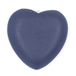Houten hanger hart donkerblauw 56mm (1 st.)