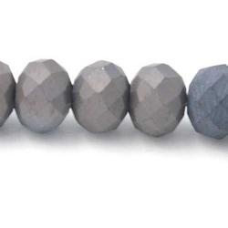 Facet kraal donut mat grijs 4x6mm (streng)