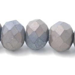 Facet kraal donut mat grijs 6x8mm (streng)