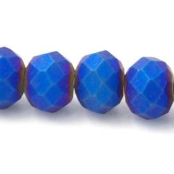 Facet kraal donut mat koningsblauw 4x6mm (streng)