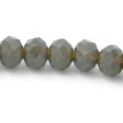 Facet kraal donut mat grijs/brons 3x4mm (streng)