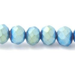 Facet kraal donut mat blauw/groen 3x4mm (streng)