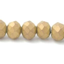 Facet kraal donut mat goud 3x4mm (streng)