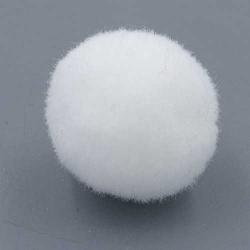 Pompon 26mm wit (5 stuks)