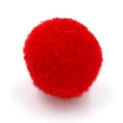 Pompon 26mm rood (5 stuks)