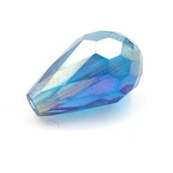 Facet kraal druppel blauw AB 16x10mm (10 st.)