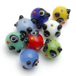 Glaskraal, panda, diverse kleuren, 14 mm (8 st.)