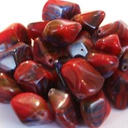 Glaskraal, gemarmerd, rood, 11 x 17 mm (5 st.)