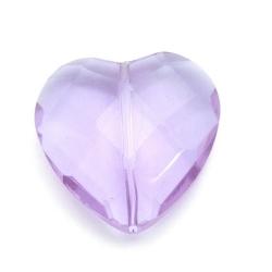 Glaskraal, hart met facetten, lila, 32 mm (1 st.)