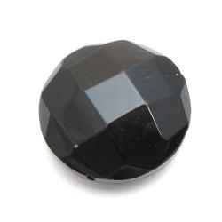 Glaskraal, rond met facetten, zwart, 32 mm (1 st.)