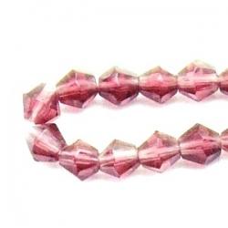 Glaskraal, diamant, amethyst, 4 mm (streng)