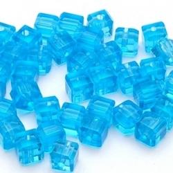 Glaskraal, blokje, blauw, 6 x 6 mm (10 st.)