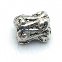 Metaal kraal, zilver, lang, 8 mm (20 st.)
