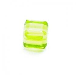 Glaskraal, blokje, limegroen, 6 x 6 mm (10 st.)
