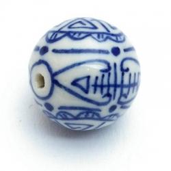 Keramiek kraal, rond, Delfts blauw, 20 mm (3 st.)
