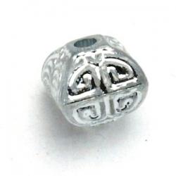 Kunststof kraal hoekig zilver 12 mm (10 st.)