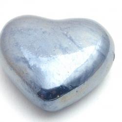 Keramiek kraal, hart, metallic petrol, 29 mm (1 st.)