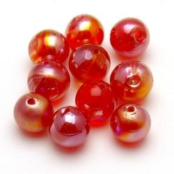 Glaskraal, rond, rood met 'olieglans', 16 mm (5 st.)