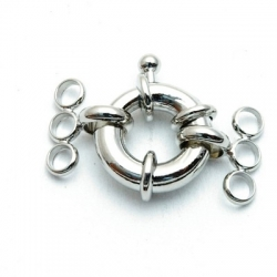 Boeislot, zilver, 3-rijgogen, 14 mm (3 st.)