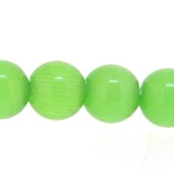 Catseye kraal rond groen 4 mm (streng)