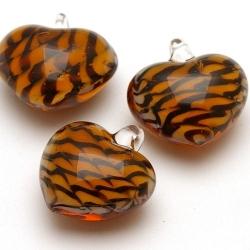 Hanger, hart, oranje/donker bruine streep, 29 mm (1 st.)