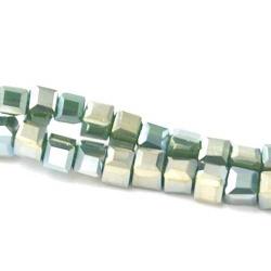 Facet kraal blokje groen AB 3 mm (100 st.)