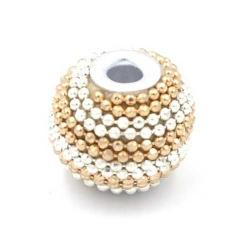 Kashmiri kraal rond goud zilver groot rijggat 14mm (3 st.)