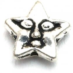 Metaal kraal, ster, gezichtje, 12 mm (10 st.)