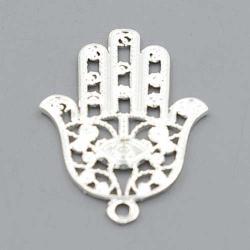 Metaal bedel hand Fatima zilver 42mm (3 st.)