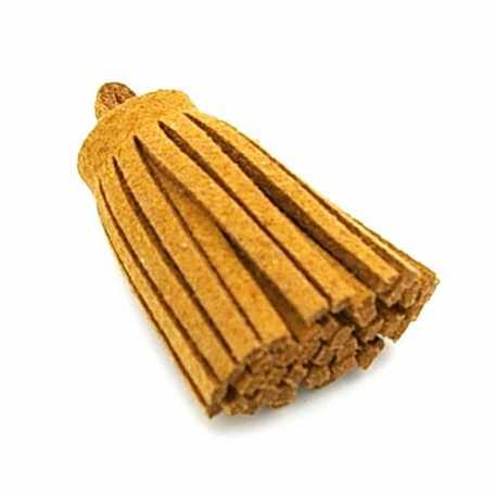 Kwastje PU leer camel 6cm (1 st.)