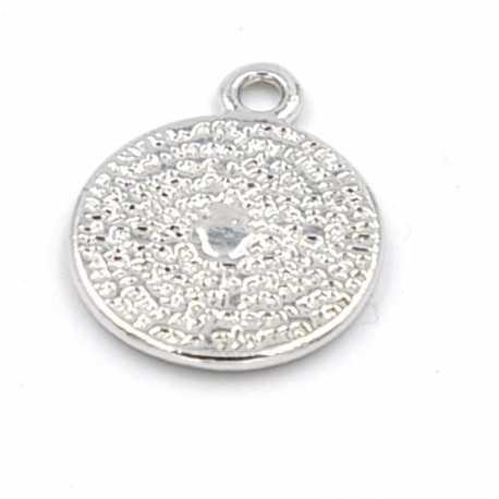 DQ Metaal bedel zilver muntje 16mm (3 st.)