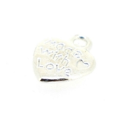 Metaal bedel zilver hartje quote 'made with love' 12mm (5 st.)