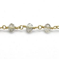 Jasseron ketting kralen goud melkwit AB 5x6 mm (1 mtr.)