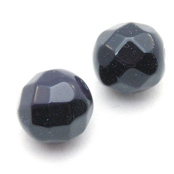 Blue Goldstone kraal rond facet 12 mm (5 st)