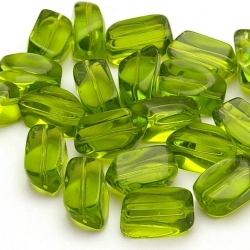 Glaskraal, rechthoekig, groen, 13 x 8 mm (10 st.)