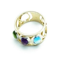 Ring, 14 Kt. goud, groene, paarse en blauwe steen, maat19 (1 st)