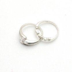 Ringenset, sterling zilver met zirkonia, maat 18