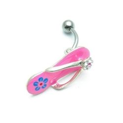 Piercing, roze slippertjes (1 st.)