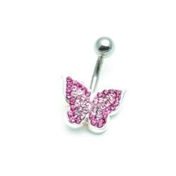 Piercing, roze vlinder (1 st.)