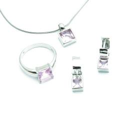 Ketting, ring (19) en oorbellen, zilver/roze Swarovski (1 set)