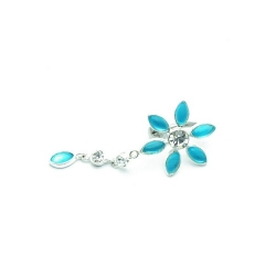 Piercing, bloem, blauw (1 st.)