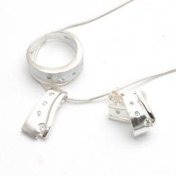 ketting, hanger, ring (16) en oorbellen, zilver met Swarovski (1 set)