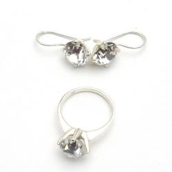 Oorbellen en ring (maat 18), zilver met Swarovski (1 st.)