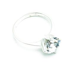 Ring, Sterling zilver, groene zirkonia, maat 16 (1 st.)
