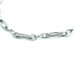 Ketting, sterling zilver, schakels met zirkonia (1 st.)