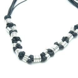 Ketting sterling zilver, zwart koord (1 st.)